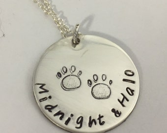 Dog Lover's Necklace with Two Names - Personalized Sterling Silver/Paw Print