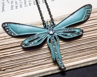Verdigris Dragonfly Statement Necklace