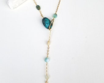 Amethyst, Peruvian opal & turquoise lariat