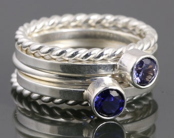 5 Stackable Rings: 2 Lab-Created Birthstone Rings, 2 Twisty Rings, and 1 Round Ring. Sterling Silver. Made to Order.