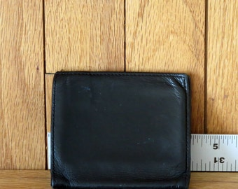Etsy BDay Sale Coach Tumbled Black Cafskin Compact Coin Wallet- Style No 5634