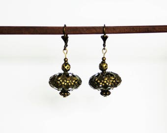 Earrings with Pearl metal color bronze