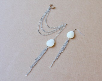 Mother of Pearl Leaf and Silver Chains Cuff Earrings (Pair)