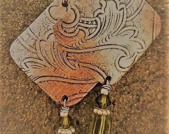 Silver and Green Glass Bead Jellyfish Dangle Earrings