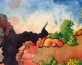 Grand Canyon scene interpreted in an abstract way  - Canyon 1   - a fine art GICLEE print of one of my paintings. Free U.S. shipping.