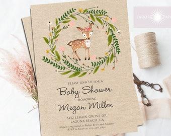 Floral Woodland Baby Shower Invitation, Girl Woodland Invite, Woodland Invitation, Baby Shower Invite, Printable, Rustic, jadorepaperie