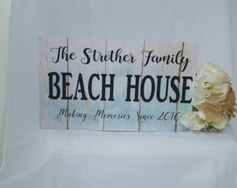 Personalized beach house sign, personalized beach sign, custom beach home sign, established family sign, custom name sign,