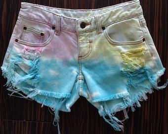 Kids high waisted shorts, Coachella hippy Boho Denim Cut-offs, distressed, Shredded