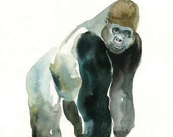 GORILLA -5x7 Print-Art Print-animal Watercolor Print-home decor-nursery art-children art