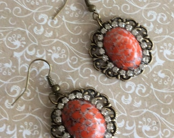Red Cab Earrings, Handmade Jewelry, Handmade Earrings, Drop and Dangle, Sale