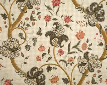 SCALAMANDRE CLARENDON ALLOVER Jacobean Lampas Fabric 10 Yards Grey Multi
