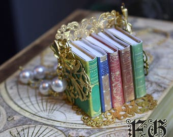 Antique Fable Book Necklace - Gold Pearl (Made to Order)