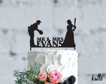 Baseball wedding cake topper- Customizable Wedding Cake Topper- Personalized baseball cake topper- Baseball player Wedding Gift