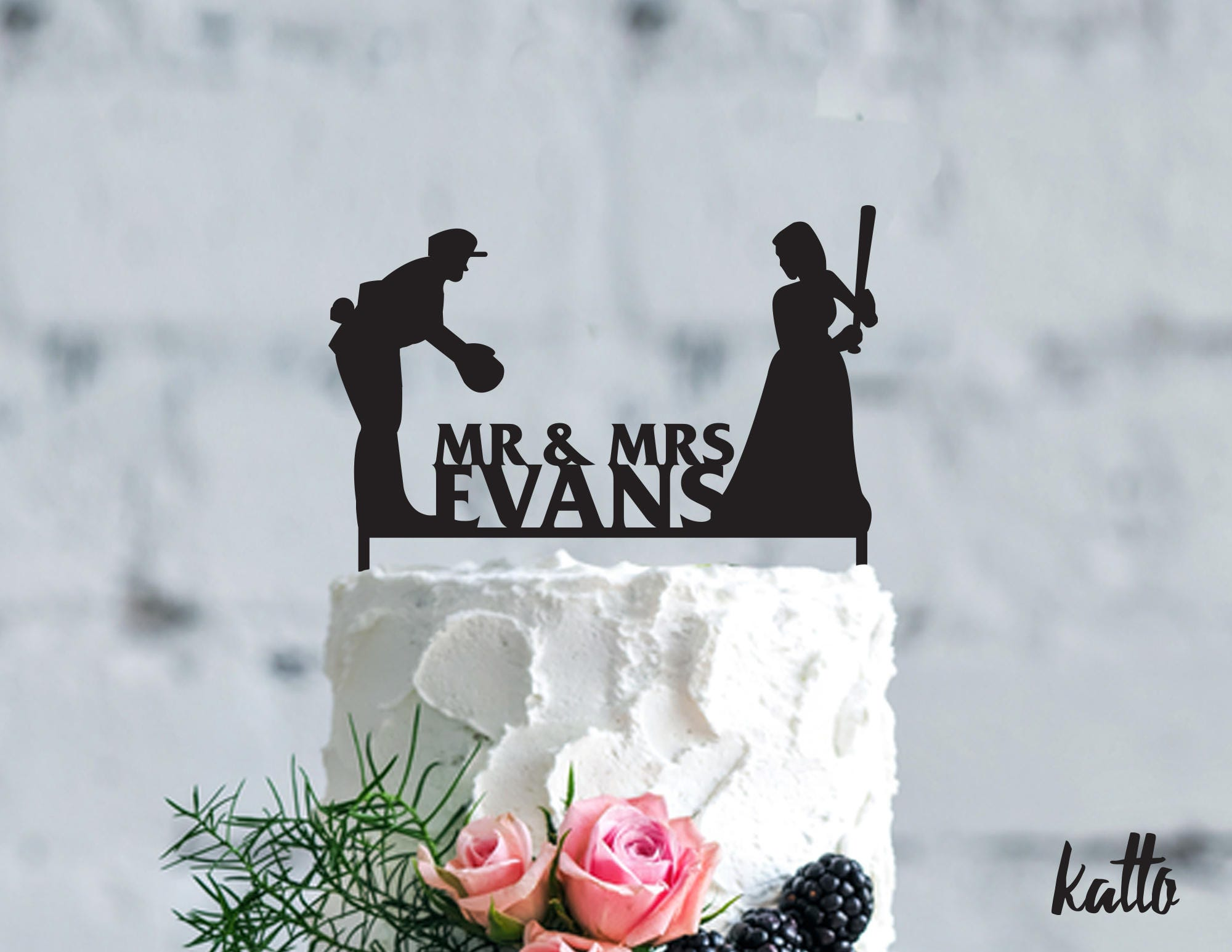 Baseball Wedding Cake Topper Customizable Wedding Cake