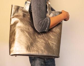 Huge Elegant Genuine Leather Bag Urban Style Tote Long Strap Silver Color, Silver Leather Bag Tote, Leather Shopping Bag, Lederhandtasche