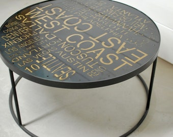 Round Industrial Coffee Table, West Coast, Typography Art, Coffee Table, New York City Decor, Modern Table, Furniture, East Coast, Table
