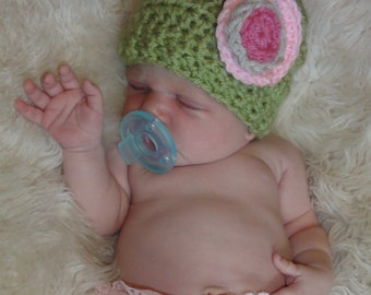 Baby Hat Set, Crochet Baby Hat with Flower, Crochet Baby Hat, Newborn Hat  Set, Baby Hat, Baby Girl Hat Set