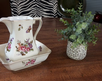 Vintage Lefton Pitcher and Bowl Floral and Butterfly No. XA8136 Spring Flowers