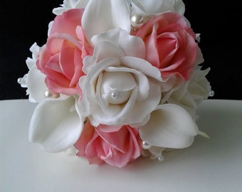 Coral and White Real Touch Rose and Calla Lily Bridal Toss Bouquet-Coral Toss Away Bouquet