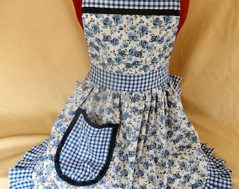 Retro Vintage 50s Style Full Apron / Pinny - Blue & White Roses