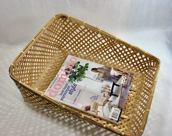 Woven Rattan Bamboo Magazine Holder Basket Rack Tray Vintage Boho Decor