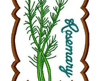 Rosemary Herb Plant Embroidery Design, Instant Download, Fits 4x4 Hoop, PES format and more