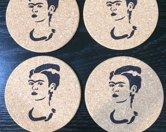 Set of 4 round cork Frida Kahlo coasters