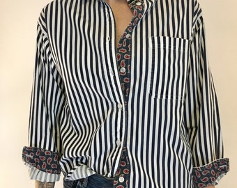 Striped Button Up Blouse With Paisley Detail