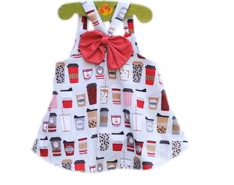 Girl's Top, Girls Clothing, Modern, Coffee Print, Big Bow, Handmade in USA, KK Children Designs, 5-6T, Last One