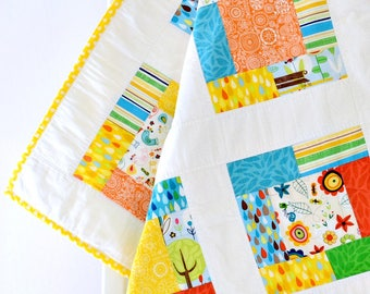 Yellow Baby Girl Quilt ~ Patchwork Quilt ~Baby Play Mat~ flowers baby shower gift baby gift handmade patchwork baby blanket blue baby quilt