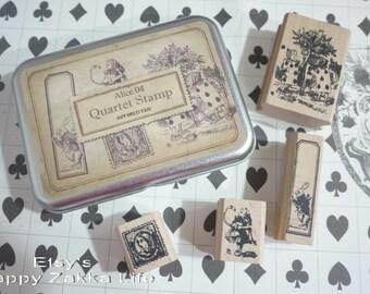 Wooden Rubber Stamp Tin Box Set - Alice in Wonderland - Alice 04 - 4 Pcs