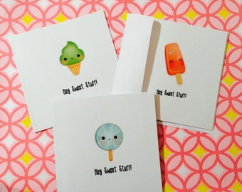 Set of 3 Mini Note Cards, Lunch Box Notes, under pillow note, co-worker note, come with envelopes and seals