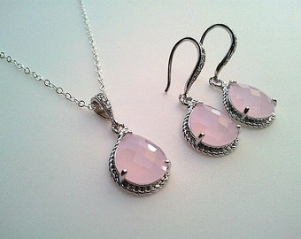 Blush Pink wedding Necklace and Earrings Set ,wedding Jewerly, drop earrings, Blush Pink dangle earrings, wedding gift, pink necklace