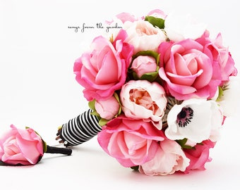 Pink, Black and White Bridal Bouquet Real Touch Anemones, Hot Pink Roses, Pink Peonies with Groom Boutonniere