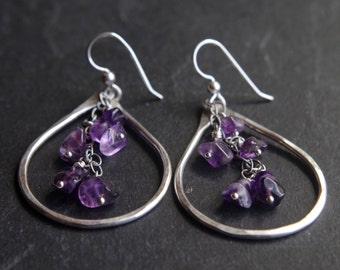 Purple Rain - Large Fine Silver earrings - Hand forged Silver dangles with cascading Amethyst gemstones - In memory of Prince