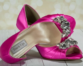 Crystal Bling Wedding Shoes - Pink - Bridal Heels - Peep Toe - Heels - Choose Your Heel Height - Dyeable Shoes -Choose From Over 100 Colors