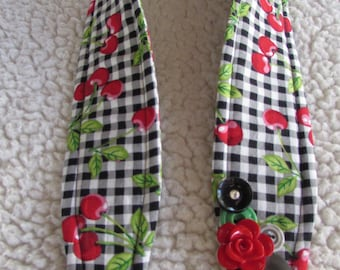 Unique one of a kind Cherries Camera Strap