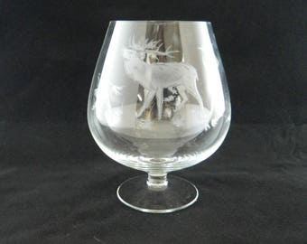 Vintage 1960s Snifter...Clear Crystal Brandy Snifter Glass...Etched Elk Design w/ Woods...Barware...Lowball...Mid Century Retro...Man Cave