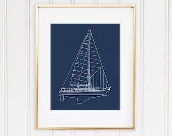 Lighthouse blueprint blueprint art download nautical decor sailboat blueprint nautical decor boat blueprint sailing boat instant download sailboat malvernweather Images