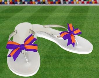 Orange + Purple Bow Jelly Sandals