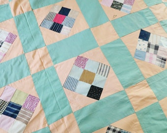 antique quilt top, time span patchwork, Nile green, hand pieced, home made quilt top, unfinished quilt, antique patchwork, vintage decor,