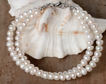 Gemella Classic Freshwater Pearl Bracelet, Double Strand, Double Layer, Stack Bracelet