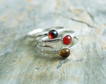 Sunset Stacking Rings Set - Three Natural Gemstone Stackers in Hammered Sterling Silver - Almandine Garnet, Citrine, and Carnelian