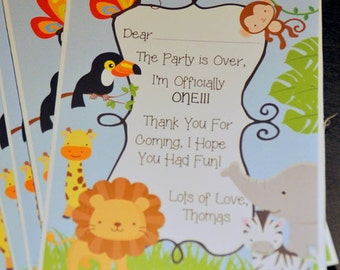 Jungle, Thank You Card, Jungle Birthday, Baby Shower, Safari, birthday, Birthday Party, Jungle Thank You, Safari Party, Safari Animal Card