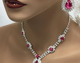 Wedding jewelry set ,bridesmaid jewelry set, Bridal necklace earrings, vintage inspired rhinestone jewlery, Hot pink crystal jewelry set