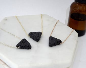 Lava stone Triangle necklace, Essential Oil Diffuser Necklace, Gold Filled, Sterling Silver, Rose Gold,  Aromatherapy on the go necklace