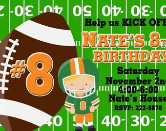 20 Football Invitations Boys Football Birthday Party Invitations Choose ANY COLOR 20 Prints (envelopes included)
