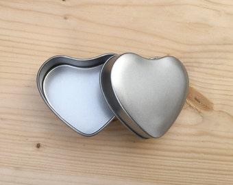 Heart Shape Tin Box, Jewelry Box, Candle Tin, Lip Balm Tin, 50ml Small Box (A Set Of 12 Tins)