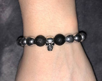 Silver Hematite and lava stone skull bracelet