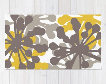 Floral Rug - Brown and Mustard Yellow Area Rug - Modern Dandelion Flowers Area Rug - Home Decor